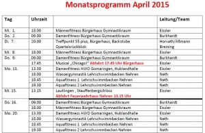 Monatsprogramm April 2015
